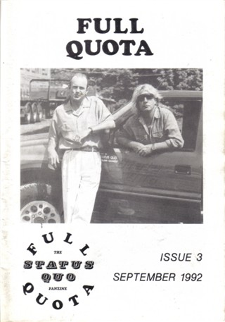 Frontcover of the 'Full Quota'-Fanzine from Nicola Lisle.