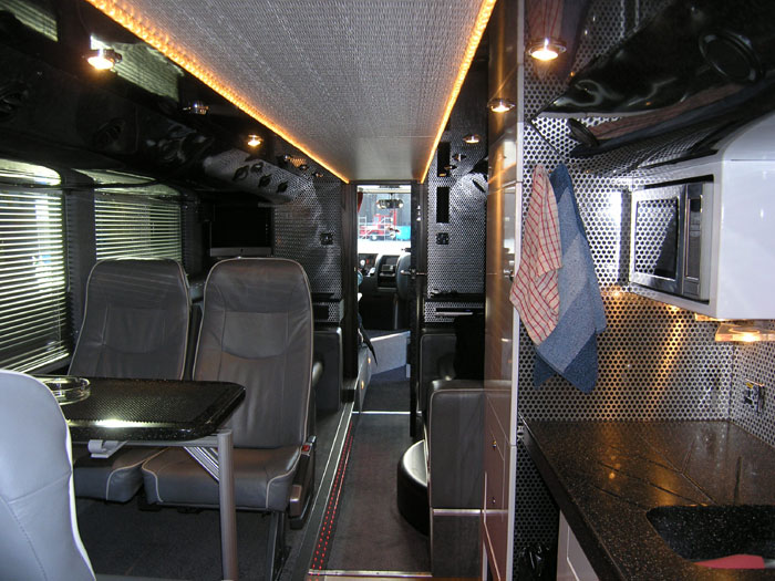 Bob young people places inside the status quo tour Tour bus interior design